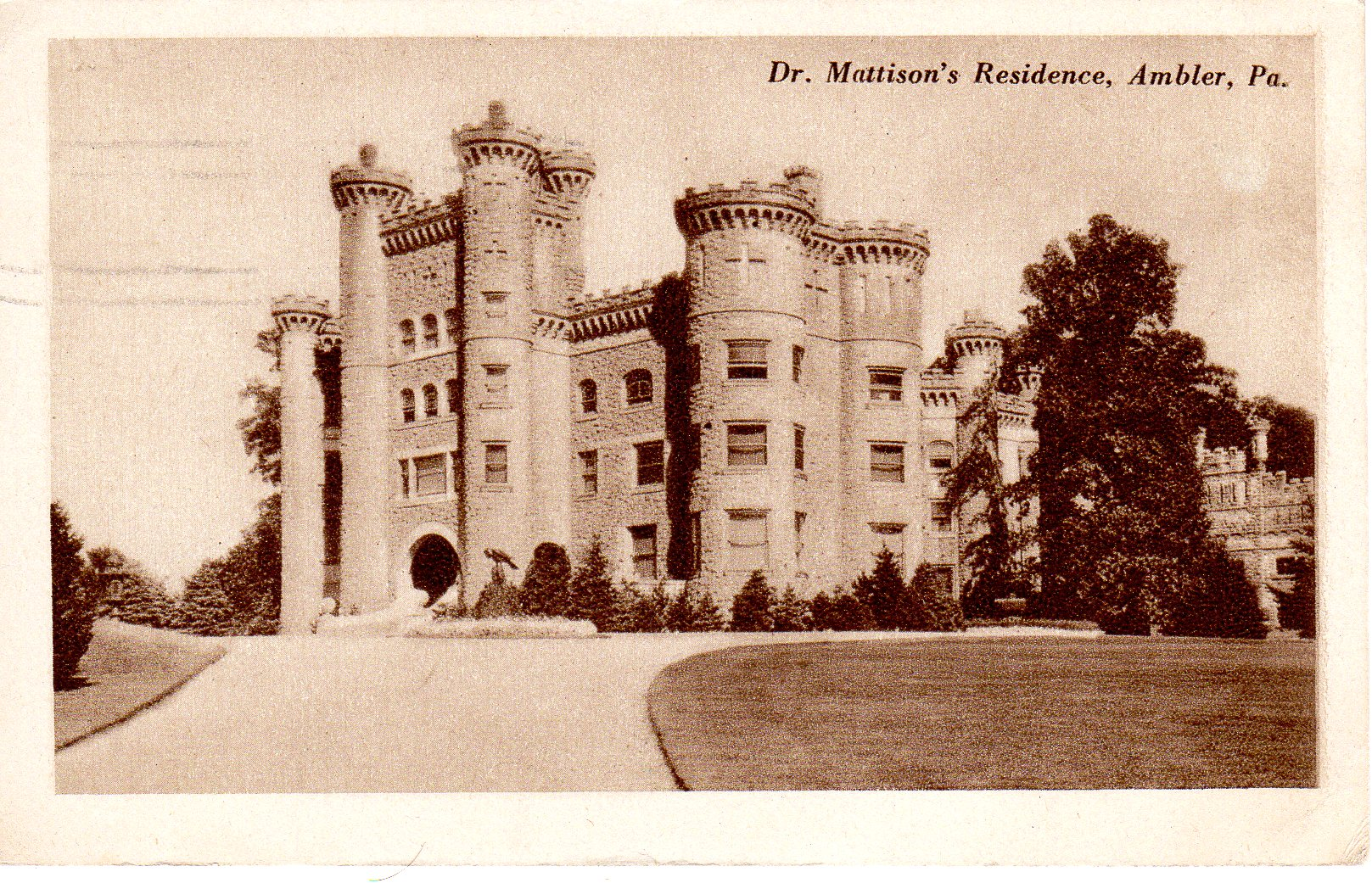Post Card Collection (E Simon)_2682_39_Dr Mattison Residence, Ambler, Pa_1925