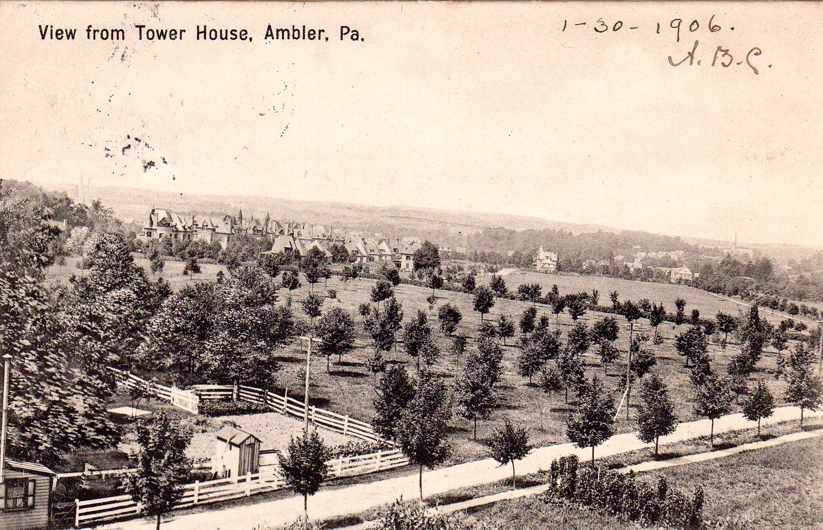 Post Card Collection (E Simon)_2682_43_View from tower House, Ambler, Pa_30 Jan 1906