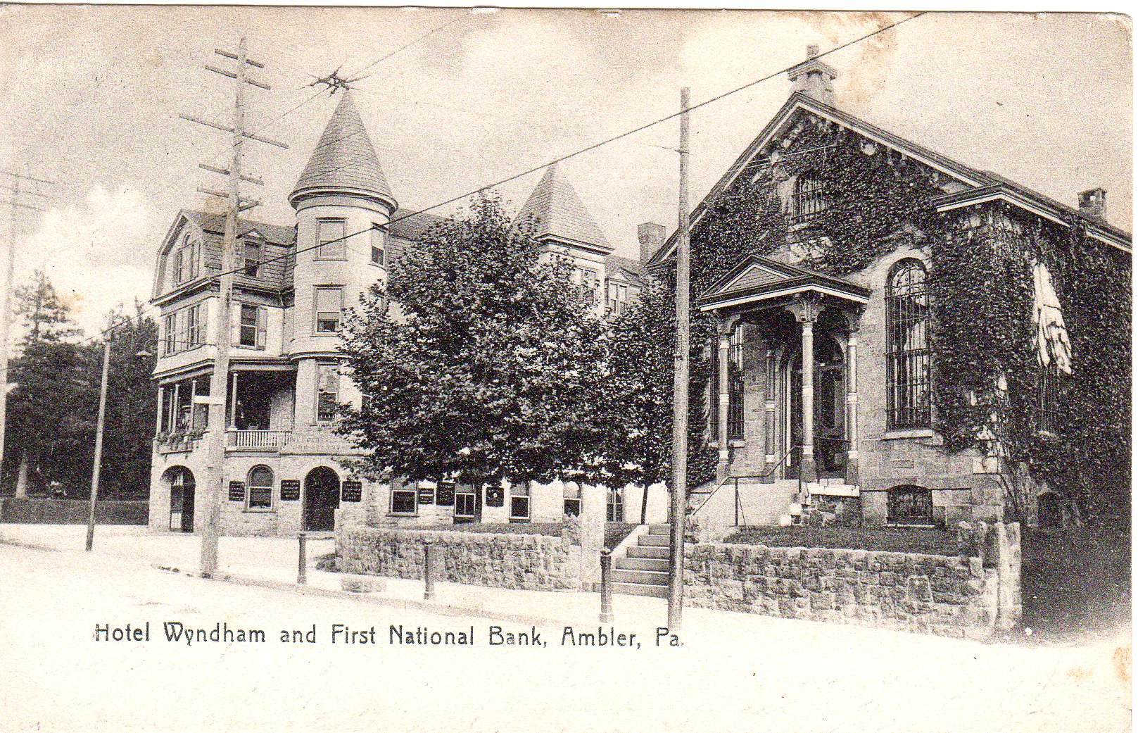 Post Card Collection (E Simon)_2682_44_Hotel Wyndham and First National Bank, Ambler, Pa_27 May 1907