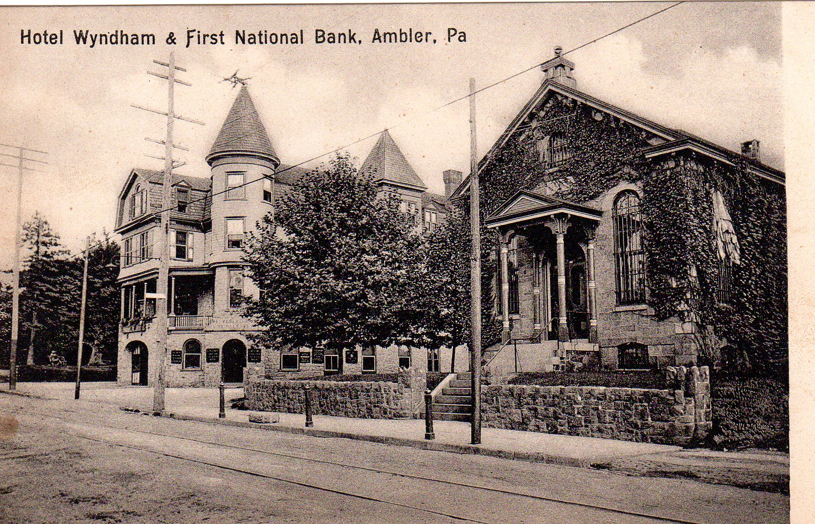Post Card Collection (E Simon)_2682_47_Hotel Wyndham & First National Bank, Ambler, Pa