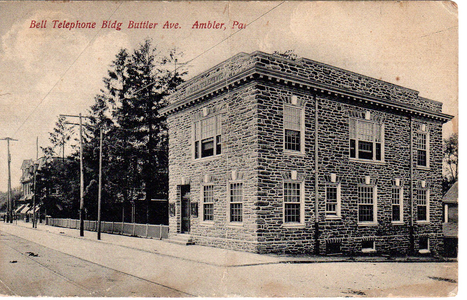 Post Card Collection (E Simon)_2682_48_Bell Telephone Building, Butler Ave, Ambler, Pa_6 Apr 1911