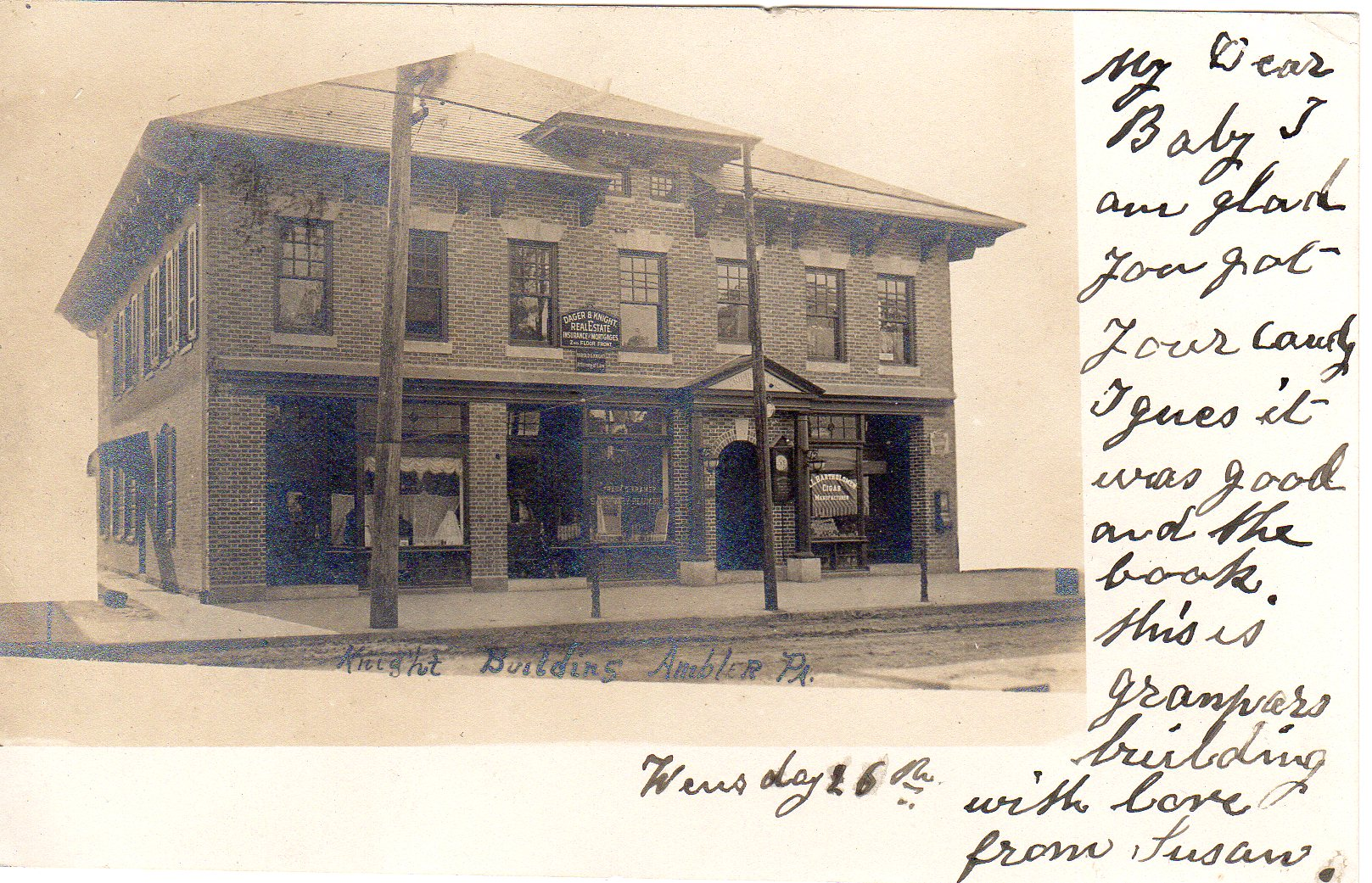 Post Card Collection (E Simon)_2682_51_Knight Building, Ambler, Pa_26 Apr 1906