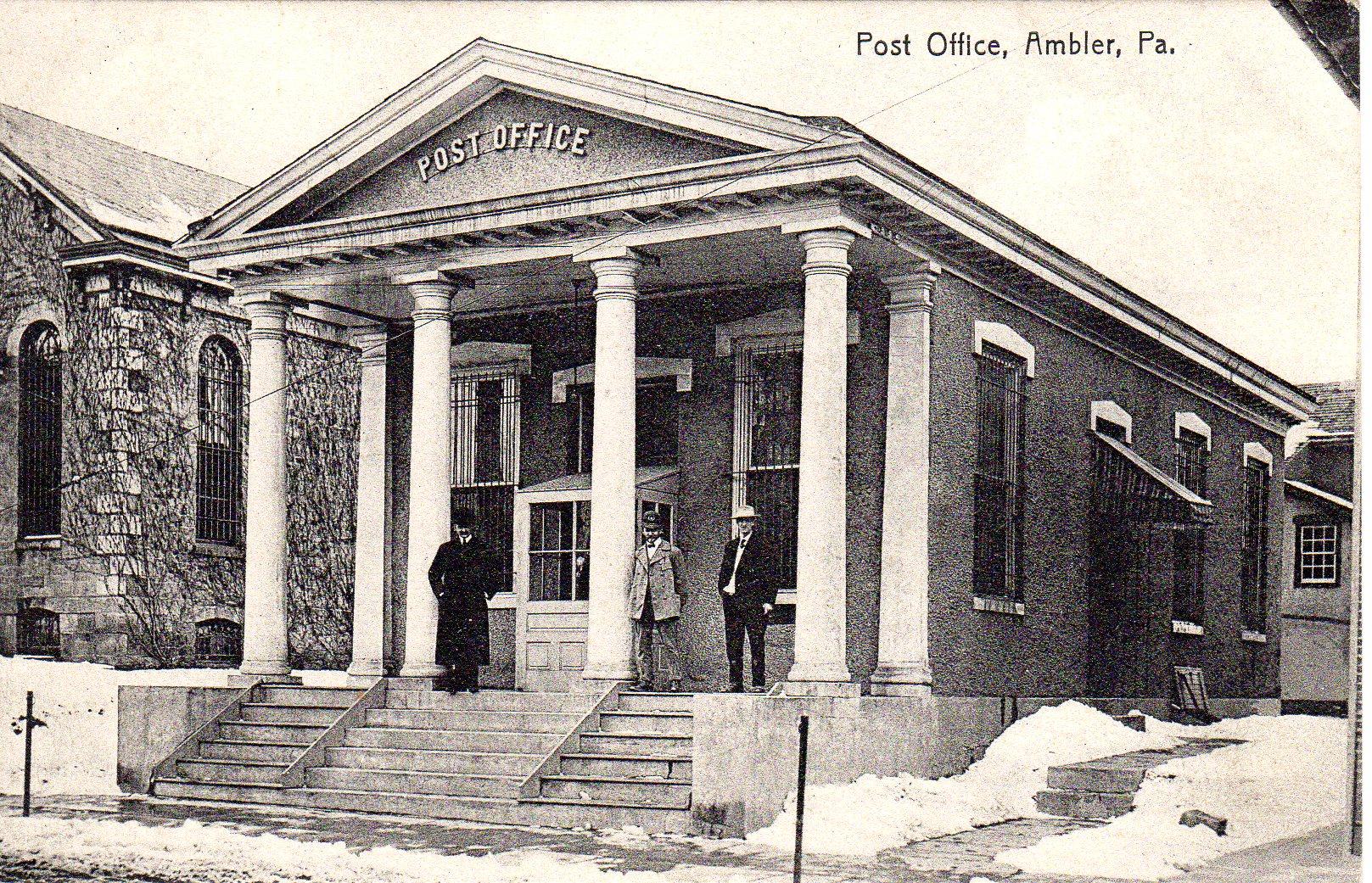 Post Card Collection (E Simon)_2682_59_Post Office, Ambler, Pa_24 Aug 1908