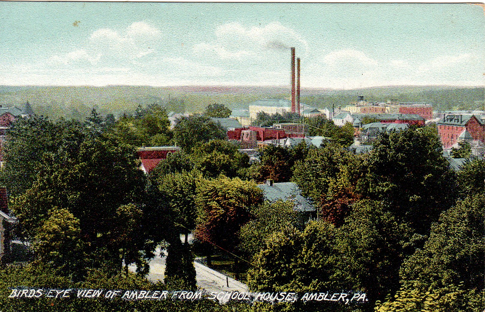 Post Card Collection (E Simon)_2682_61_Birds Eye View of Ambler from School House, Ambler, Pa
