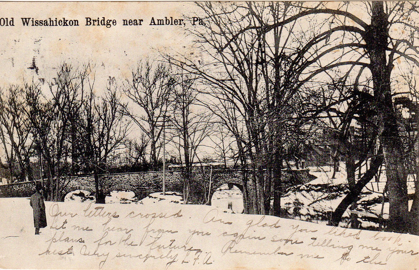 Post Card Collection (E Simon)_2682_62_Old Wissahickon Bridge near Ambler , Pa_1907