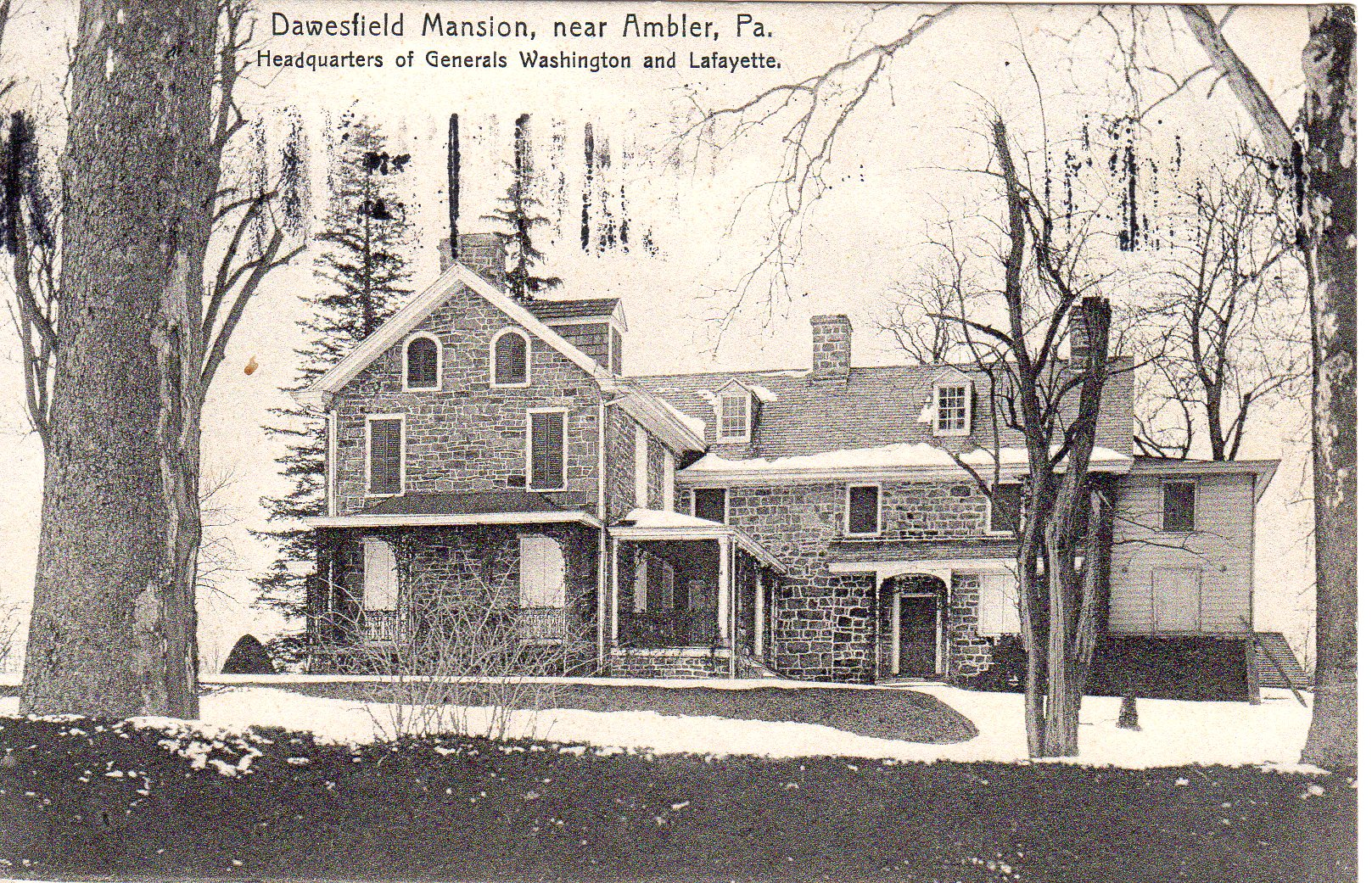 Post Card Collection (E Simon)_2682_64_Dawesfield Mansion (near Ambler, Pa) Headquarters of Generals Washington & Lafayette_25 Sep 1909