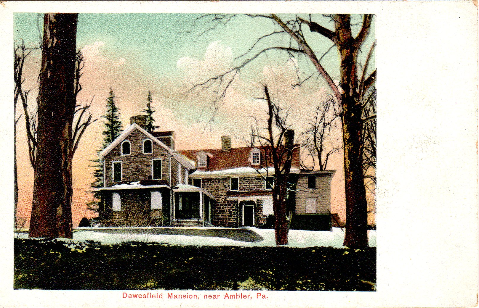 Post Card Collection (E Simon)_2682_65_Dawesfield Mansion near Ambler, Pa