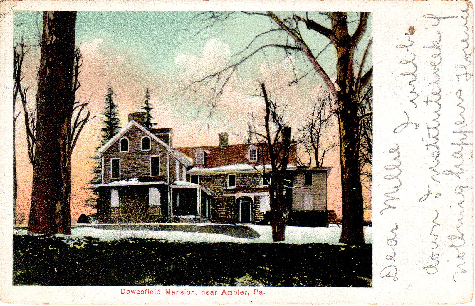 Post Card Collection (E Simon)_2682_66_Dawesfield Mansion near Ambler, Pa_20 Oct 1906