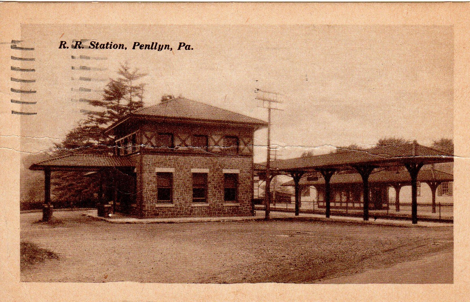 Post Card Collection (E Simon)_2682_70_R R Station, Penllyn, Pa_9 Jun 1948
