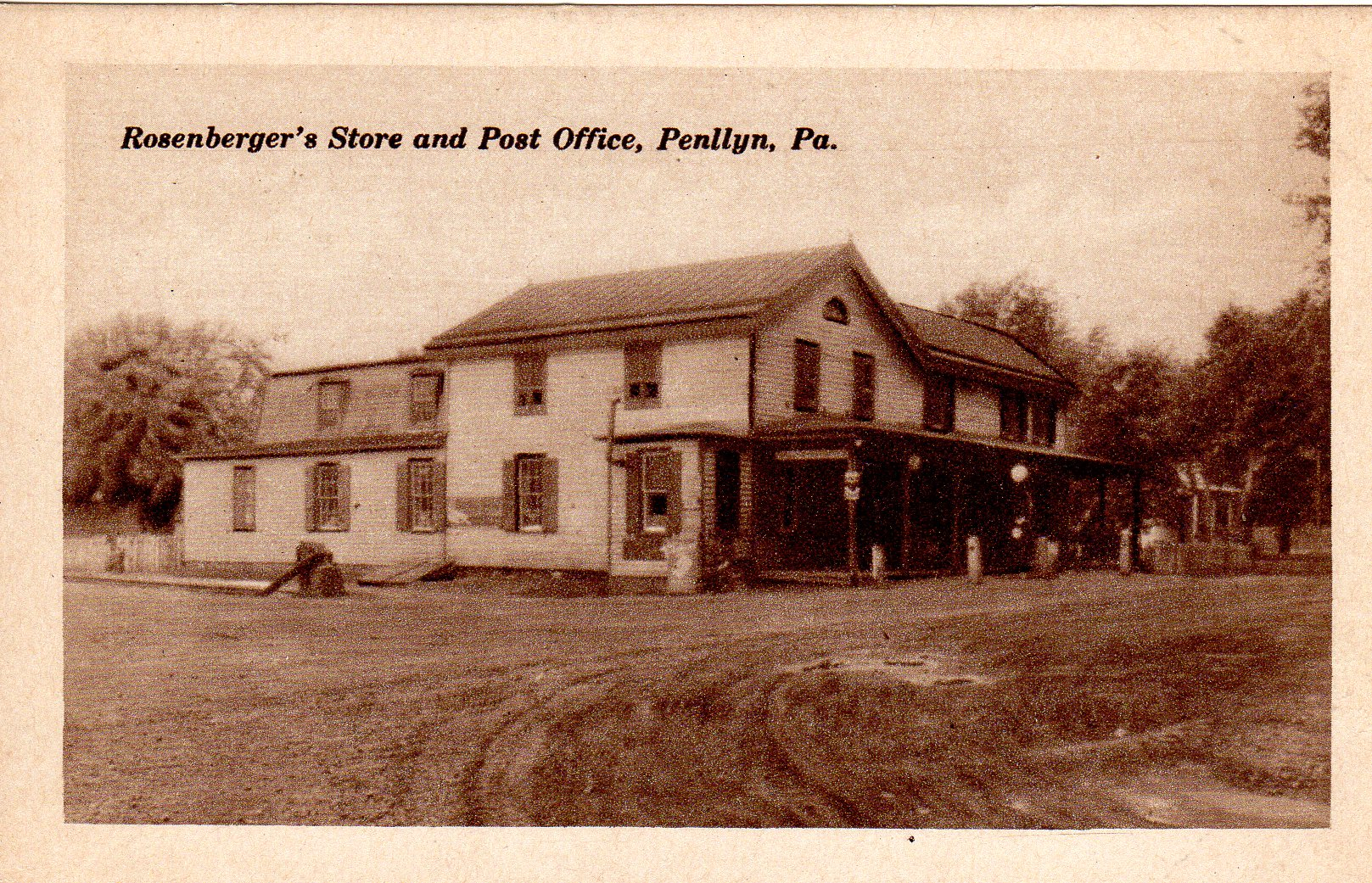 Post Card Collection (E Simon)_2682_71_Rosenbergers Store and Post Office, Penllyn, Pa