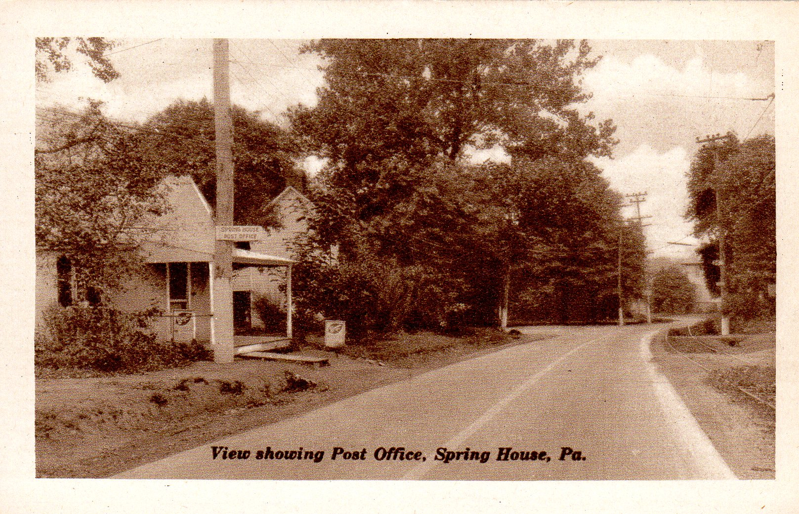 Post Card Collection (E Simon)_2682_73_View Showing Post Office, Spring House, Pa
