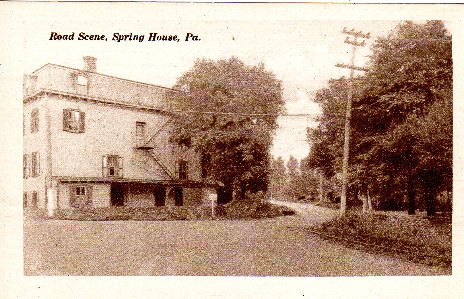 Post Card Collection (E Simon)_2682_74_Road Scene, Spring House, Pa