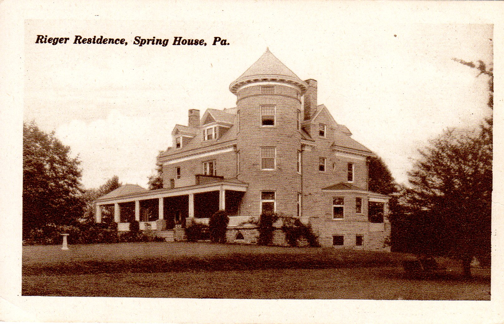 Post Card Collection (E Simon)_2682_76_Rieger Residence, Spring House, Pa