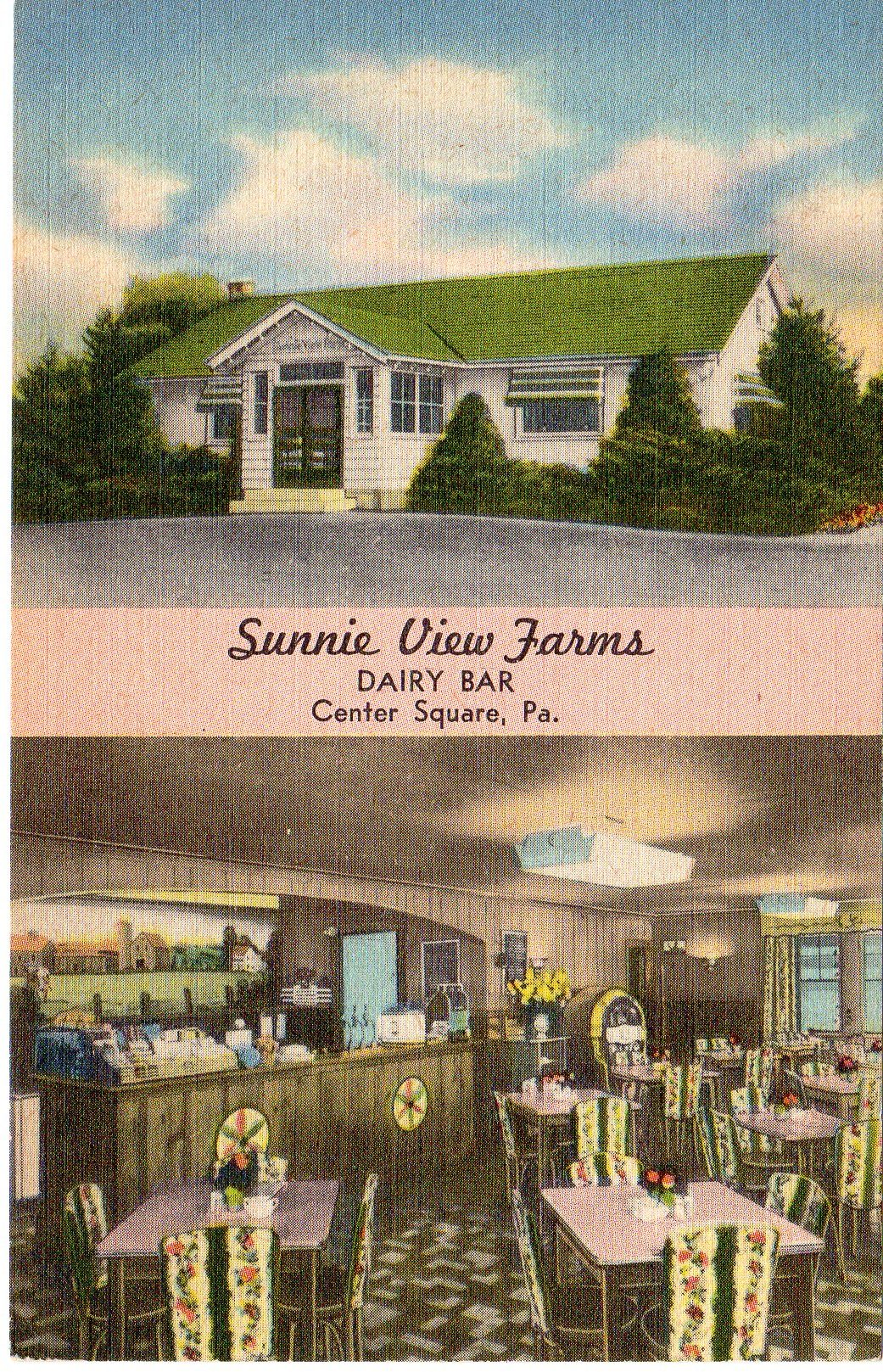 Post Card Collection (E Simon)_2682_77_Sunnie View Farms, Dairy Bar, Center Square, Pa