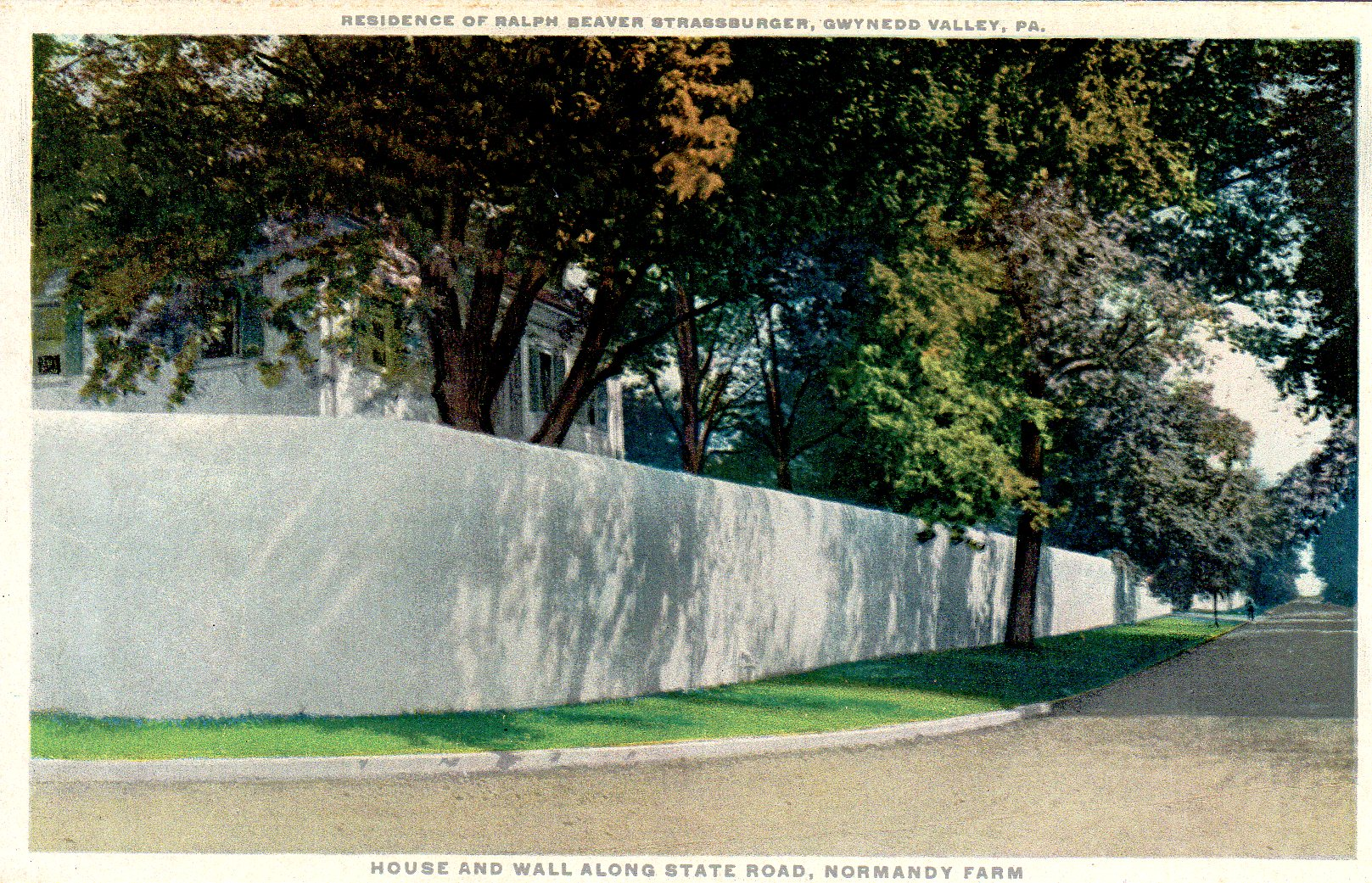 Post Card Collection (E Simon)_2682_78_Home Ralph Beaver Strassburger, Gwynedd Valley, Pa_House & Wall, State Rd, Normandy Farm
