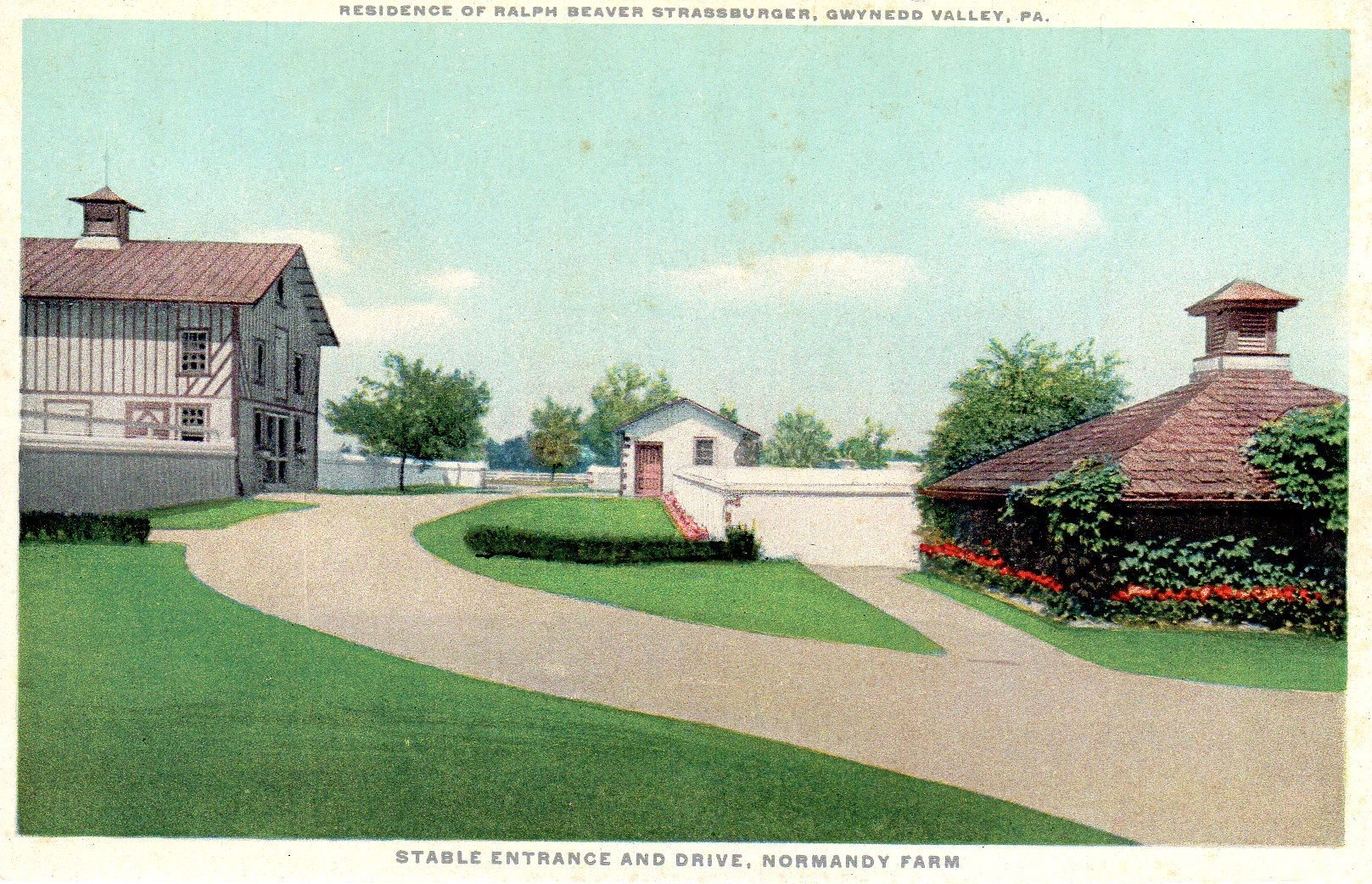Post Card Collection (E Simon)_2682_79_Home Ralph Beaver Strassburger, Gwynedd Valley, Pa_Stable Entrance & Drive, Normandy Farm