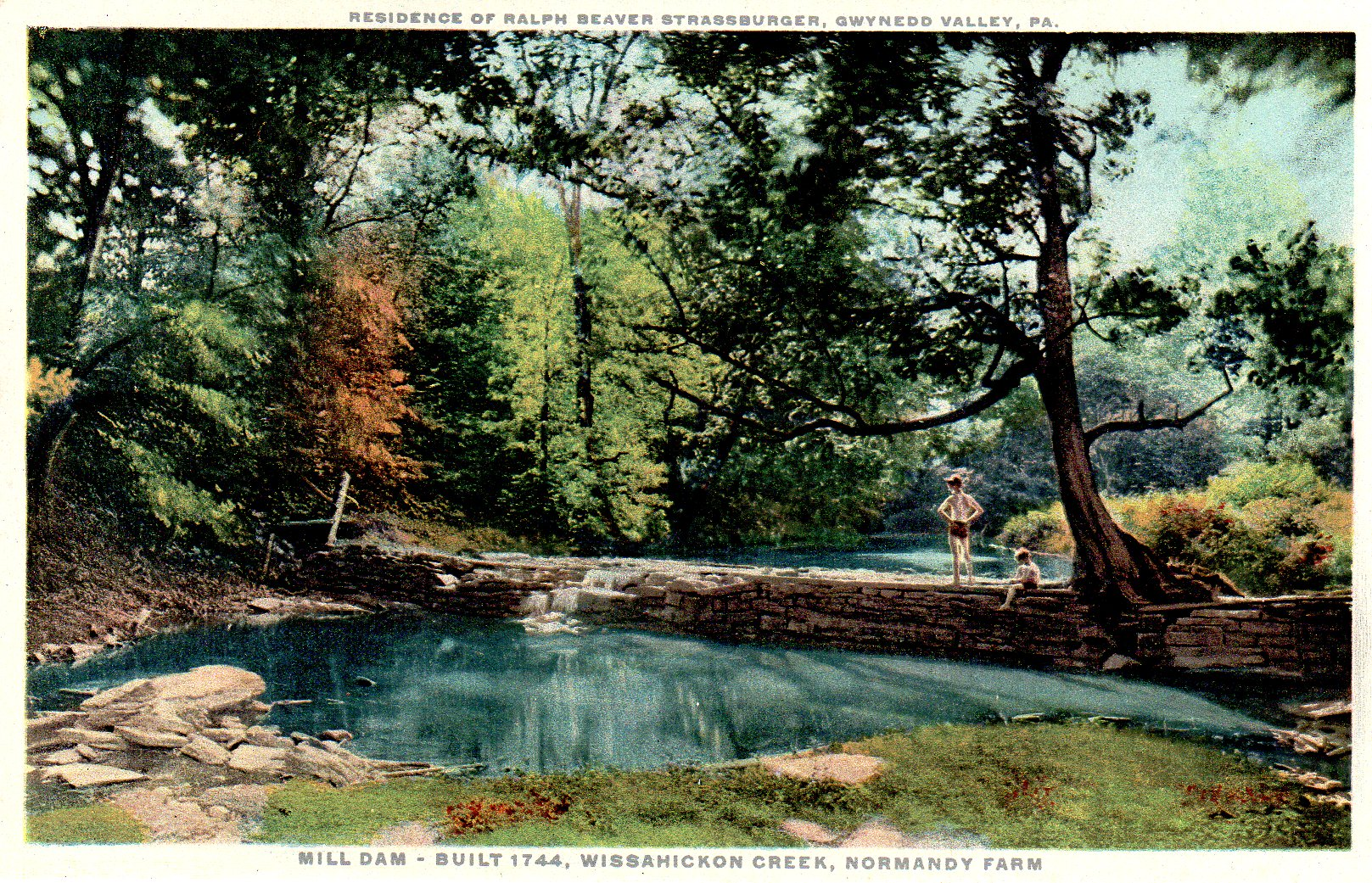 Post Card Collection (E Simon)_2682_80_Home Ralph Beaver Strassburger_Mill Dam (Built 1744) Wissahickon Creek, Normandy Farm
