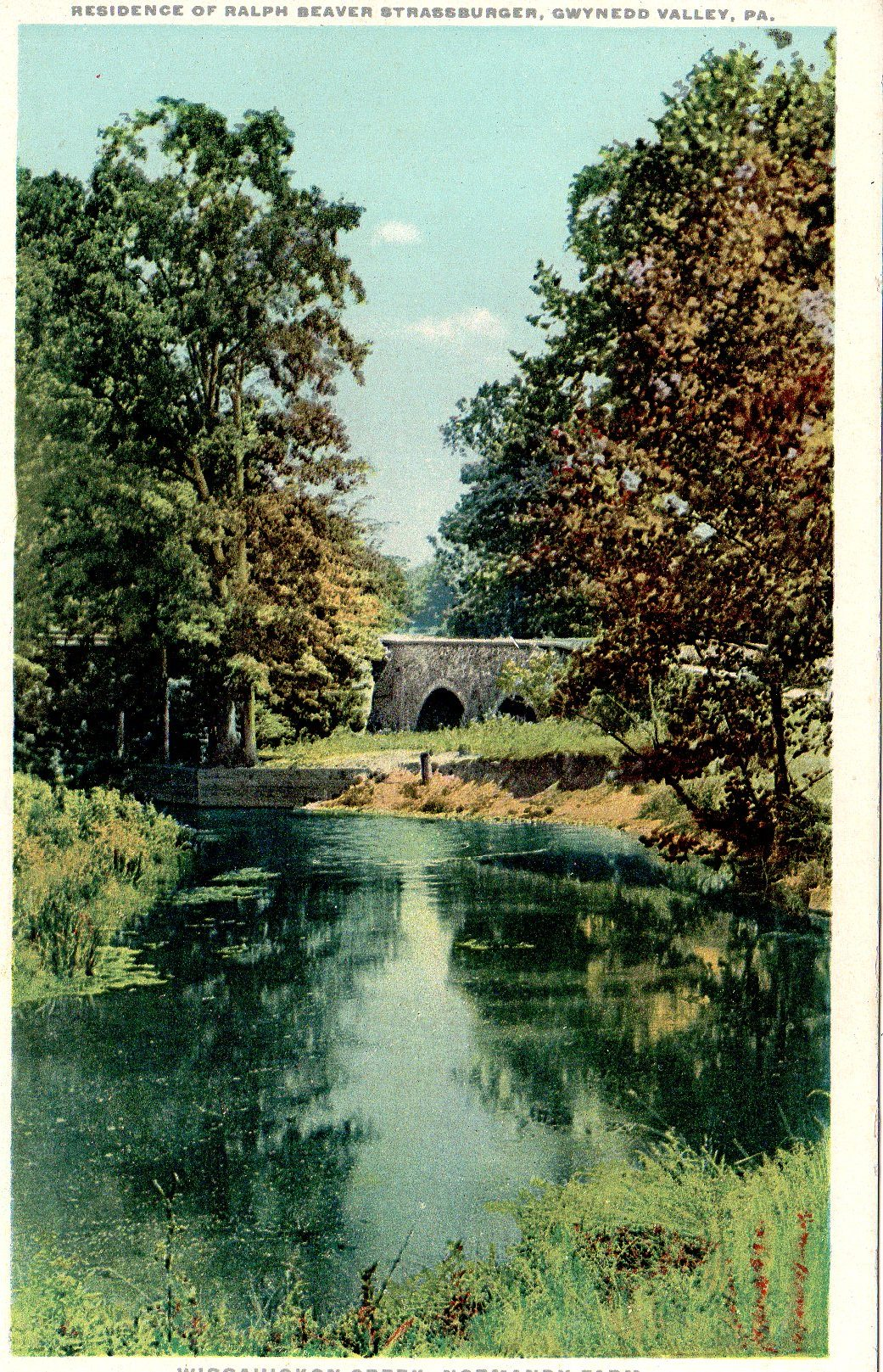 Post Card Collection (E Simon)_2682_81_Home Ralph Beaver Strassburger, Gwynedd Valley, Pa_Wissahickon Creek, Normandy Farm
