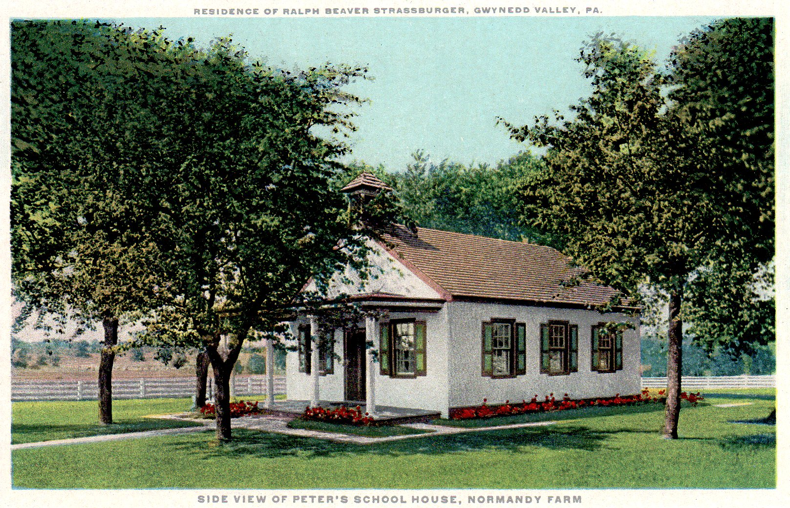 Post Card Collection (E Simon)_2682_82_Home Ralph Beaver Strassburger, Gwynedd Valley, Pa_Side Peters School House, Normandy Farm