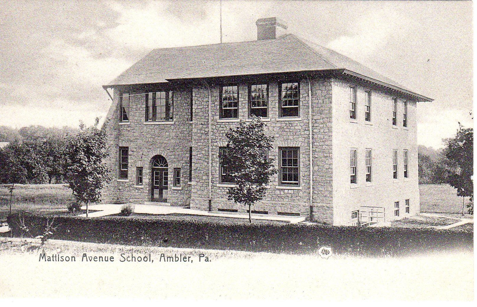 Post Card Collection (E Simon)_2682_87_Mattison Ave School, Ambler, Pa