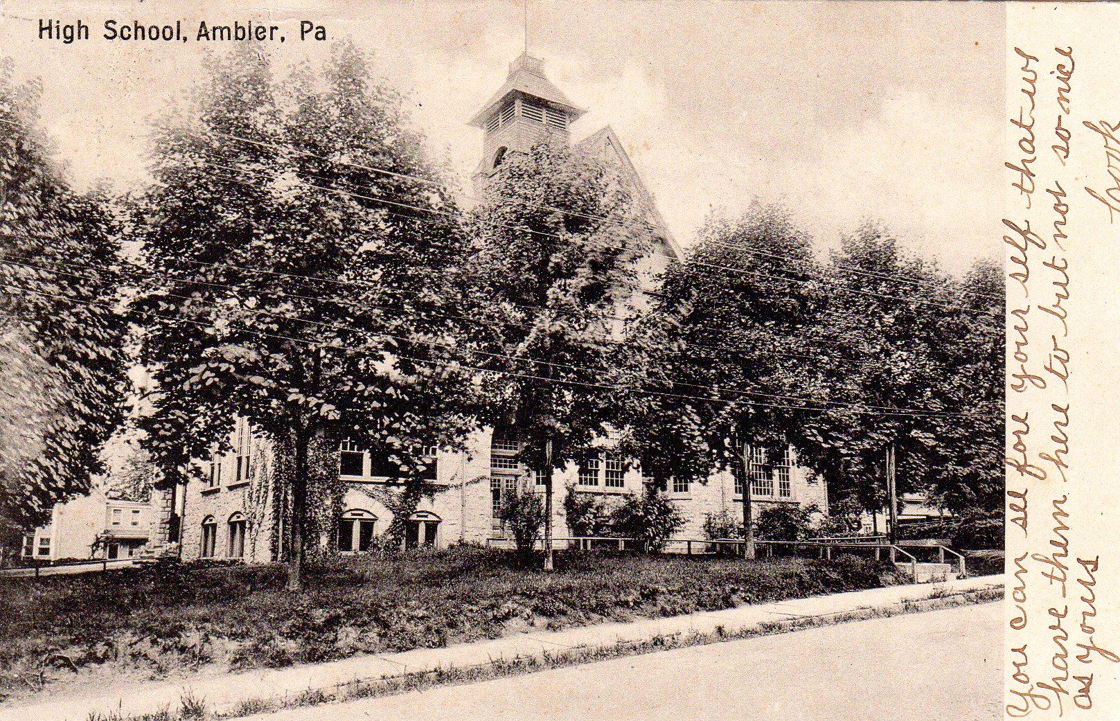 Post Card Collection (E Simon)_2682_89_High School, Ambler, Pa_3 Dec 1906