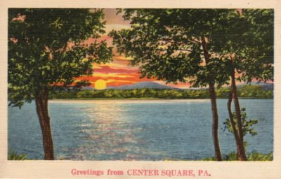 4500_018_Center Square Postcard_Greetings from CENTER SQUARE PA_Lake Scene