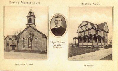 4500_062__Blue Bell PA Postcard_Boehm's Reformed Church and Manse_Portrait Edgar Vincent Loucks Minister
