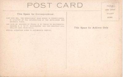 4500_084b_Ft Washington PA Postcard_Fortside Inn_Back