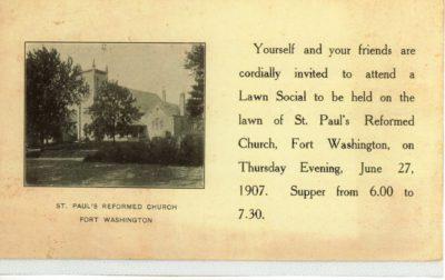 4500_085_Ft Washington PA Postcard_St Paul's Reformed Church_Invitation to Lawn Social_27 Jun 1907