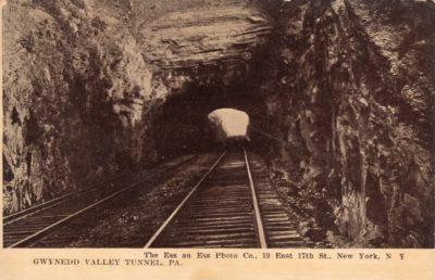 4500_210_Gwynedd Valley PA Postcard_Gwynned Valley P and R Railroad Tunnel