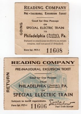 4500_212a_Reading Railroad Ticket Stubs_Gwynedd Valley to Reading Terminal and Return_Pre-Inaugural Excursion on New Electric Train_23 Jul 1931_Front