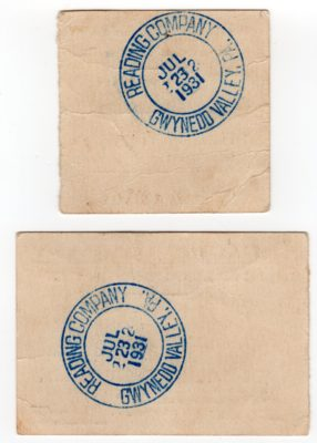 4500_212b_Reading Railroad Ticket Stubs_Gwynedd Valley to Reading Terminal and Return_Pre-Inaugural Excursion on New Electric Train_23 Jul 1931_Back
