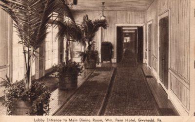 4500_229_Gwynedd PA Postcard_William Penn Hotel_Lobby Entrance to Main Dining Room_Circa 1941