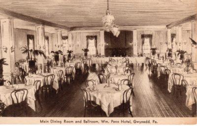 4500_230_Gwynedd PA Postcard_William Penn Hotel_Main Dining Room and Ballroom_Circa 1941