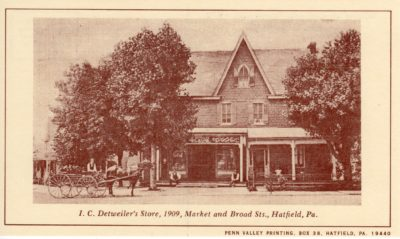 4500_242_Hatfield PA 1976 Reproduction Postcard_I C Detweiler's Store_Market and Broad Streets_1909
