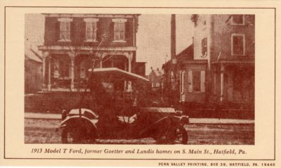 4500_243_Hatfield PA 1976 Reproduction Postcard_Former Goetter and Landis Homes_S Main Street_Circa 1913