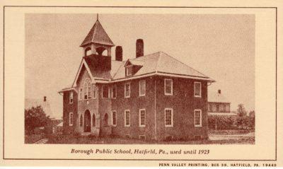 4500_244_Hatfield PA 1976 Reproduction Postcard_Borough Public School Used Until 1923