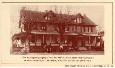 4500_245_Hatfield PA 1976 Reproduction Postcard_Line Lexington, AKA Eagle, Hotel_Circa Late 1800's