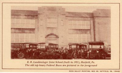 4500_246_Hatfield PA 1976 Reproduction Postcard_E B Laudenslager Joint School_Built 1921