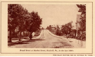 4500_247_Hatfield PA 1976 Reproduction Postcard_Broad and Market Streets_Circa Late 1800's