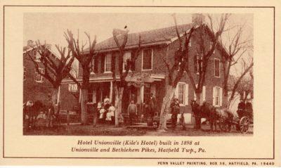 4500_248_Hatfield PA 1976 Reproduction Postcard_Hotel Unionville, AKA Kile's Hotel_Unionville and Bethlehem Pikes_Built 1898