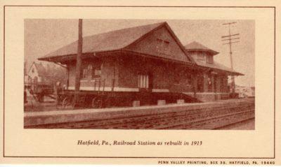 4500_249_Hatfield PA 1976 Reproduction Postcard_Raiload Station_As Rebuilt in 1913
