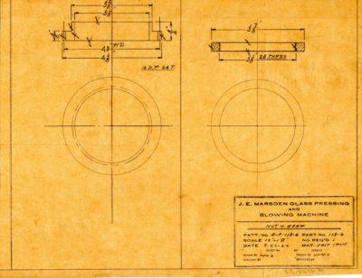 Marsden Glass Machinery Dwg #4128_31 Nut & Gear 9_26_1922