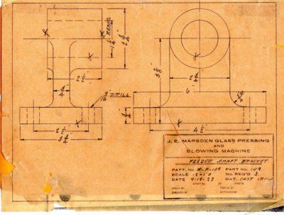 Marsden Glass Machinery Dwg #4128_32 Feeder Shaft Bracket 9_19_1922