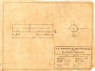 Marsden Glass Machinery Dwg #4128_34 Cam Shaft 9_20_1922