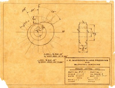 Marsden Glass Machinery Dwg #4128_35 Feeder Control Cam 9_28_1922