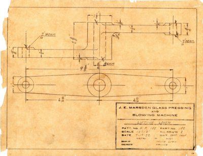 Marsden Glass Machinery Dwg #4128_36 Lifting Lever 7_19_1922