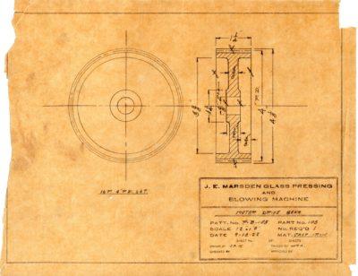Marsden Glass Machinery Dwg #4128_38 Motor Drive Gear 9_18_1922