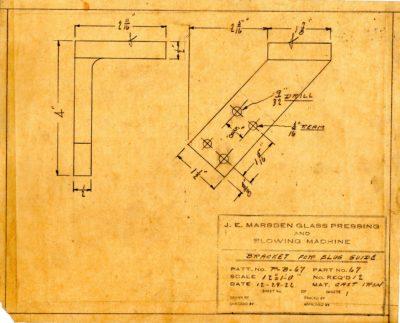 Marsden Glass Machinery Dwg #4128_39 Bracket for Slug Guide 12_19_1922