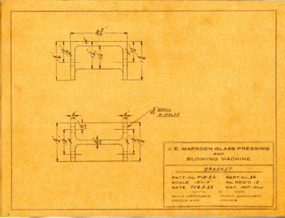 Marsden Glass Machinery Dwg #4128_41 Bracket 2_3_1922